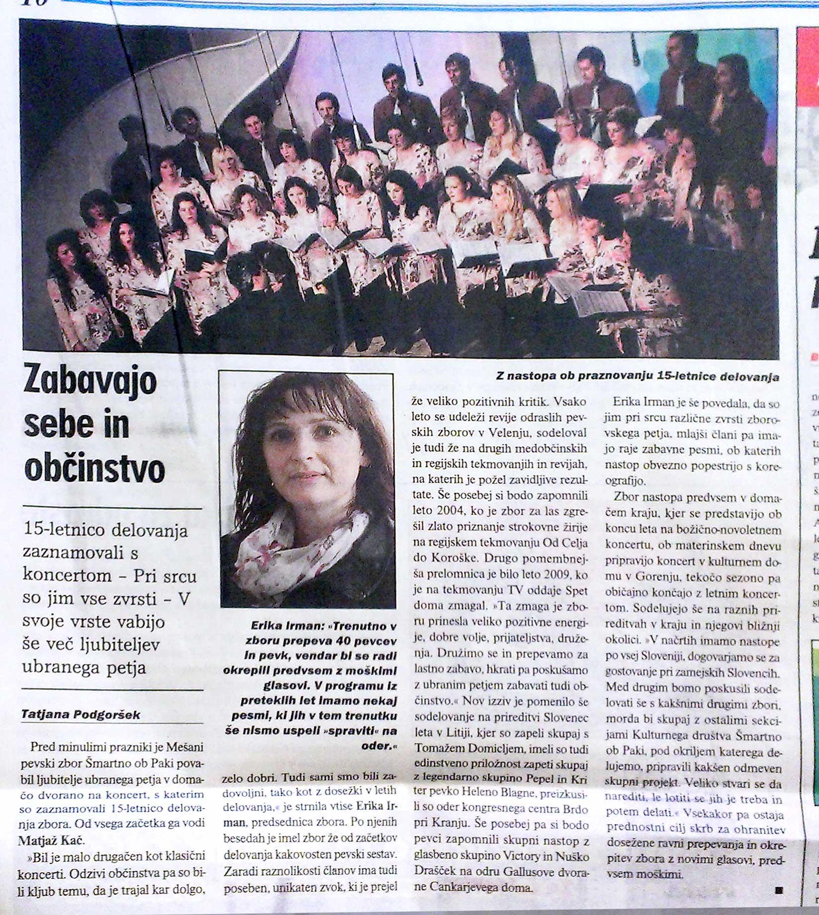 Naš Čas, April 2013, Mepz Šmartno ob Paki, 15-letnica, jubilje