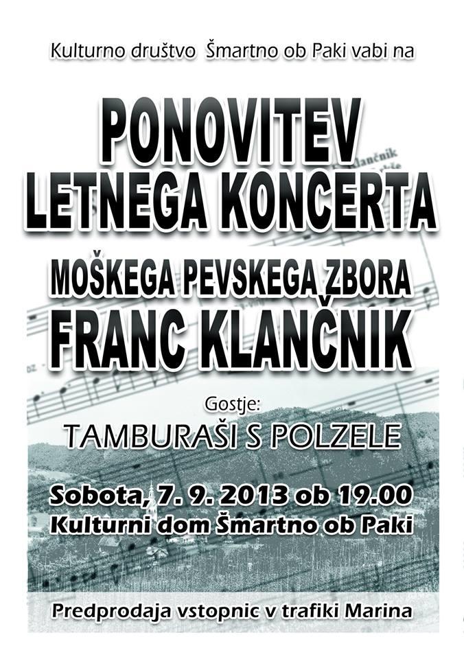 Ponovitev letnega koncerta MoPZ Franc Klančnik