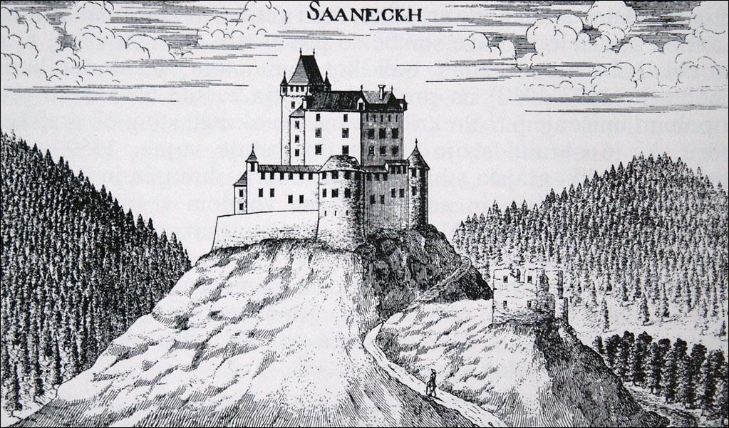 G. M. Vischer, grad Žovnek; bakrorez iz Knjige gradov, okoli leta 1681
